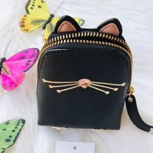 KATE SPADE CAT COIN PURSE BLACK JAZZ THINGS UP